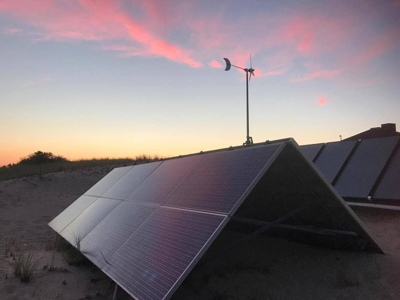 Race Point off-grid solar at dusk, Provincetown